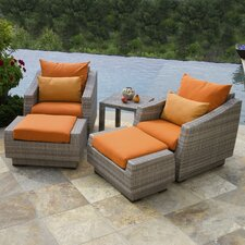 Cannes 5 Piece Club Chair and Ottoman with Cushions