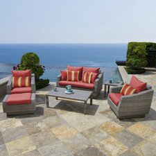 Cannes 6 Piece Love and Club Deep Seating Group with Cushions