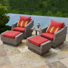 Cannes 5 Piece Club Chair and Ottoman with Cushions (Set of 5)