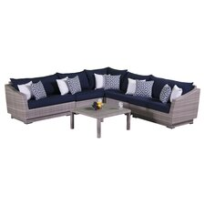 Cannes 6 Piece Corner Sectional and Conversation Table Seating Group with Cushions