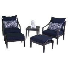 Astoria 5 Piece Club Chair and Ottoman Seating Group with Cushions