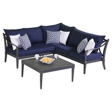 Astoria 4 Piece Corner Sectional and Conversation Table Seating Group with Cushions