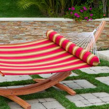 Cantina Striped Quilted Hammock with Bolster Pillow and Stand
