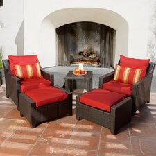 Deco 5 Piece Deep Seating Group in Espresso with Cushions