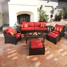 Deco 8 Piece Deep Seating Group in Espresso with Cushions