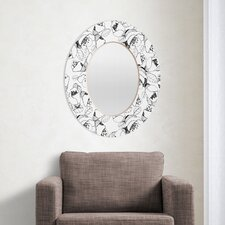 CayenaBlanca Black and White Lines Oval Mirror