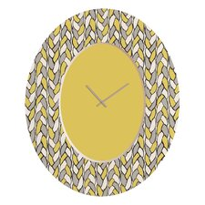 <strong>DENY Designs</strong> Bianca Green Braids Mustard Wall Clock