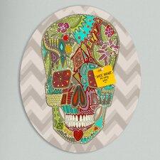 Sharon Turner Flower Skull Oval Bulletin Board