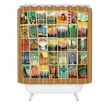 Anderson Design Group Woven Polyester City Pattern Border Extra Long Shower Curtain