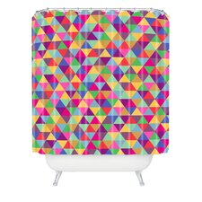 Bianca Woven Polyester Love with Triangles Shower Curtain