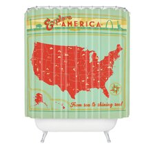 Anderson Design Group Woven Polyester Explore America Shower Curtain