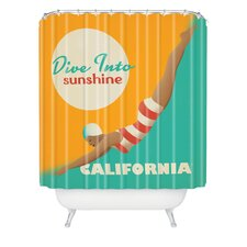 Anderson Design Group Woven Polyester Dive California Shower Curtain