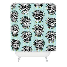 Andi Bird Woven Polyester Sugar Skull Fun Shower Curtain