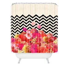 Bianca Chevron Flora 2 Polyester Shower Curtain