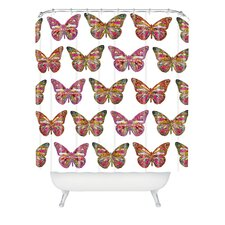 Bianca Woven Polyester Butterflies Fly Shower Curtain