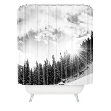 <strong>DENY Designs</strong> Bird Wanna Whistle Woven Polyester White Mountain Shower Curtain
