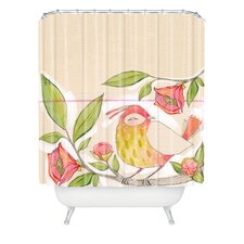 Cori Dantini Woven Polyester Little Bird On a Flowery Branch Extra Long Shower Curtain