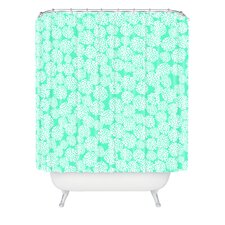 Joy Laforme Woven Polyester Dahlias Seafoam Shower Curtain