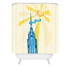 Jennifer Hill Woven Polyester New York City Chrysler Building Shower Curtain