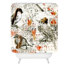 Randi Antonsen Woven Polyester Love Birds Shower Curtain