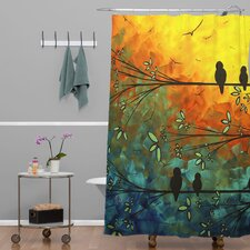 Madart Inc Woven Polyester Birds Of A Feather Extra Long Shower Curtain