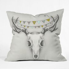 <strong>DENY Designs</strong> Wesley Bird Skull Indoor/Outdoor Polyester Throw Pillow