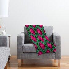 Wagner Campelo Ikat Leaves Polyester Fleece Throw Blanket