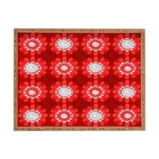 Julia Da Rocha Retro Red Flowers Rectangle Tray