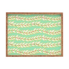 Jacqueline Maldonado Leaf Dot Stripe Mint Rectangle Tray