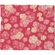 Lisa Argyropoulos Blossoms On Coral Fleece Throw Blanket