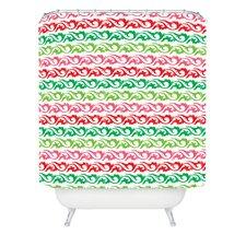 Andi Bird Sugar Plum Stripe Woven Polyester Shower Curtain