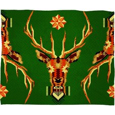 Chobopop Geometric Deer Plush Fleece Throw Blanket