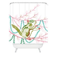 Betsy Olmsted Holiday Chipmunk Woven Polyester Shower Curtain