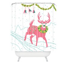 Betsy Olmsted Holiday Deer Woven Polyester Shower Curtain