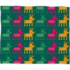 Gabriela Larios Reindeers Plush Fleece Throw Blanket