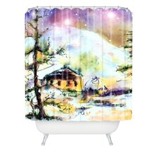 Ginette Fine Art Cabin In The Snow Woven Polyester Shower Curtain