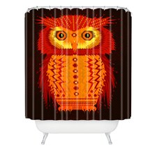Chobopop Geometric Owl Woven Polyester Shower Curtain
