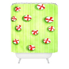 Rosie Brown Christmas Candy Woven Polyester Shower Curtain
