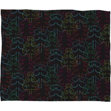 Zoe Wodarz Forest Neon Lights Plush Fleece Throw Blanket