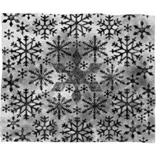 Ruby Door Snow Leopard Snowflake Plush Fleece Throw Blanket
