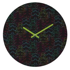 Zoe Wodarz Forest Neon Lights Wall Clock