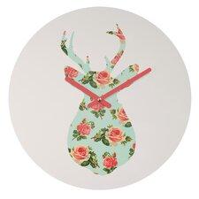 Allyson Johnson Floral Deer Silhouette Wall Clock
