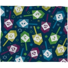 Loni Harris Dreidel Dreidel Plush Fleece Throw Blanket
