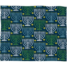 Loni Harris Menorahs Plush Fleece Throw Blanket