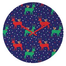 Zoe Wodarz Geo Pop Deer Blue Wall Clock