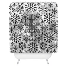 Ruby Door Snow Leopard Snowflake Woven Polyester Shower Curtain