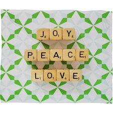 Happee Monkee Joy Peace Love Plush Fleece Throw Blanket