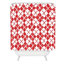 Social Proper Holiday Argyle Woven Polyester Shower Curtain