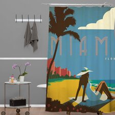 Anderson Design Group Woven Polyester Miami Shower Curtain
