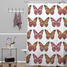 Bianca Woven Polyester Butterflies Fly Shower Curtain
